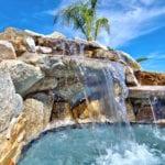 pool waterfall up close